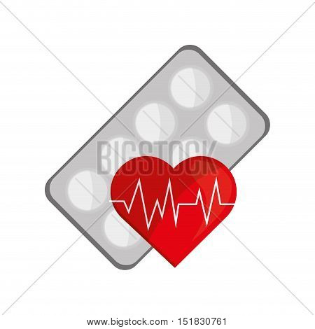 flat design medicine tablets and  heart cardiogram icon vector illustration