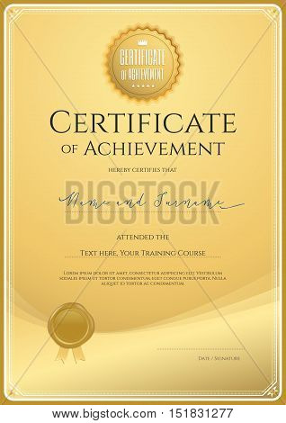 Certificate template for achievement appreciation or completion in gold theme with wax seal and swirl background