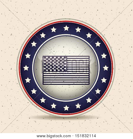 Flag inside button icon. Vote election and government theme. Isolated design. Vector illustration
