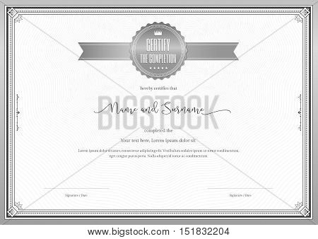 Certificate template for achievement appreciation or completion in silver theme with swirl background