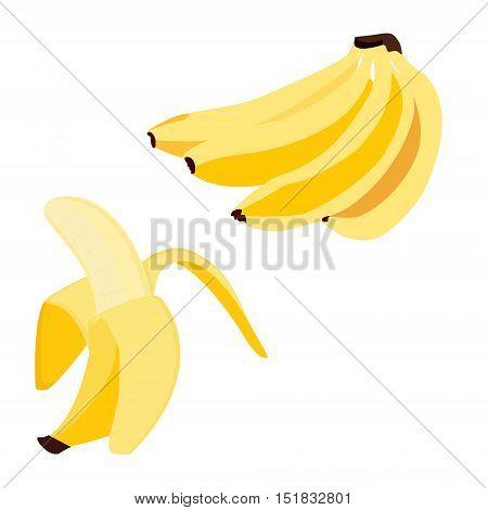 Banana Bunch And Peeled Banana