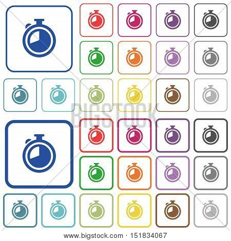 Set of timer flat rounded square framed color icons on white background. Thin and thick versions included.
