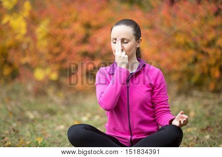 Portrait of sporty beautiful young woman practicing yoga nadi shodhana pranayama, Alternate Nostril Breathing while sitting in Easy Pose, Sukhasana wearing bright sweatshirt on autumn day