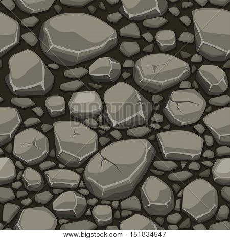 Cartoon stone texture in gray colors seamless background, view from above
