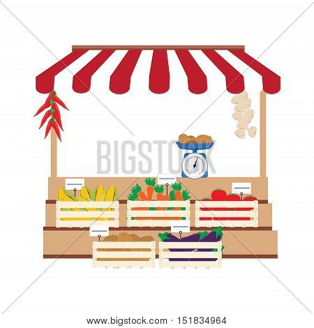 Vector illustration local market selling vegetables produce on his stall with awning. Wooden box with carrots, potatoes, tomatoes, eggplant and corn. Natural product