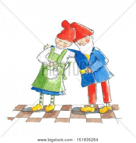 Illustration Gnome couple together in love