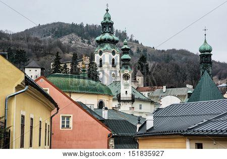 Old castle in Banska Stiavnica Slovak republic. Cultural heritage. Architectural theme. Unesco. Travel destination. Beautiful place. Religious architecture.