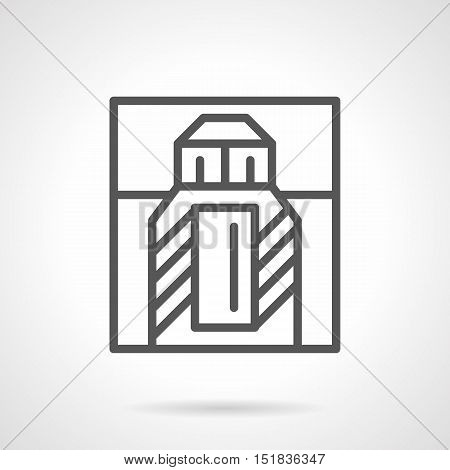 Perfume box with bottle. Perfumery and fragrances for men and women. Cosmetic and beauty products symbol. Simple black line style vector icon.