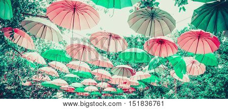 Pastel multicolor of umbrella for background and banner