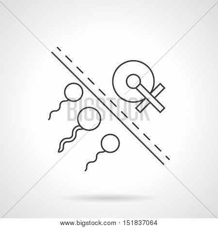 Abstract image of sperm and egg separated by line. Concept of human infertility caused by bad habits, female pathology or other factors. Black flat outline vector icon.