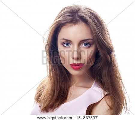 Beautiful brunette woman face close up portrait studio isolated on white background