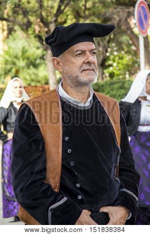 SELARGIUS, ITALY - September 8, 2013: Former marriage Selargino - Sardinia - portrait of a man of the folk group pro-loco of Paulilatino