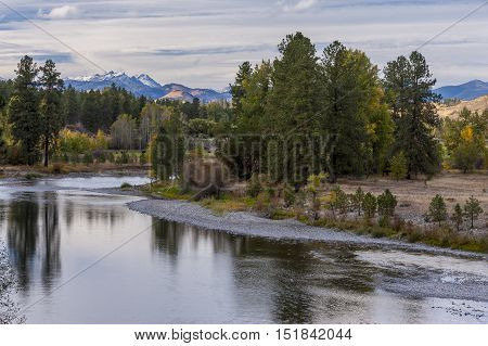 The calm section of the Methow River near Winthrop Washington.