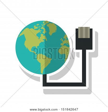 Planet sphere and cable icon. Global communication intenet connectivity web and technology theme. Isolated design. Vector illustration