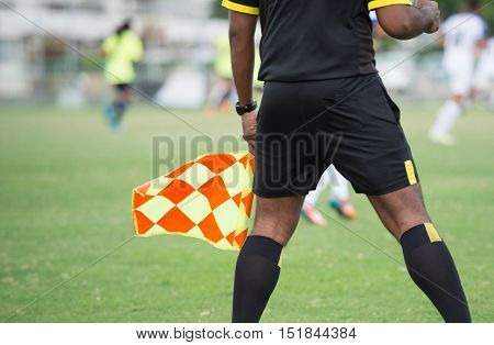 Assistant football referee and Referee's flag , thailand