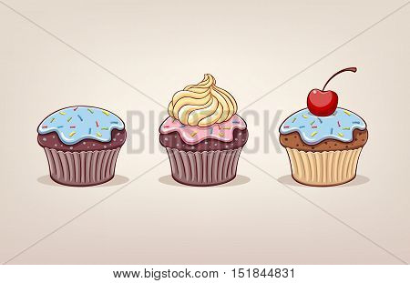 Cupcake with cream. Icons. Illustration vector on light background.