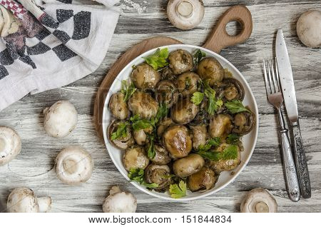 marinated mushrooms by Gordon Ramsay in balsamic vinegar
