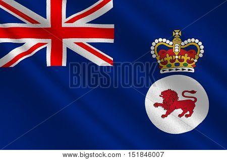 Flag of Tasmania is an island state of the Commonwealth of Australia. 3d illustration