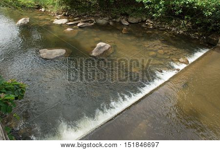 weir for water softening on the mountain