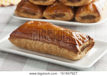 Fresh baked sausage roll close up