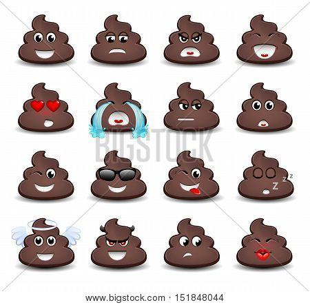 A set of emoticons. Piece of shit. Isolated vector illustration on white background. Colored icons