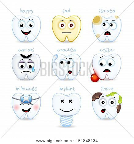 Teeth set. Dental collection for design. Icons. Vector illustration. White background. For pediatric dentistry.