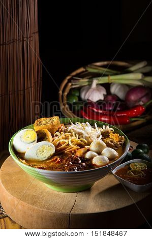 Curry Laksa which is a popular traditional spicy noodle soup from the culture in Malaysia.