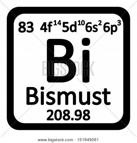 Periodic table element bismuth icon on white background. Vector illustration.