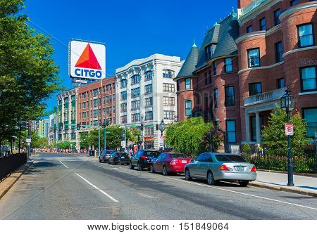 Boston MA - June of 2016, USA: Boston marathon view of Kenmore Square and big Citgo logo on rooftop of building