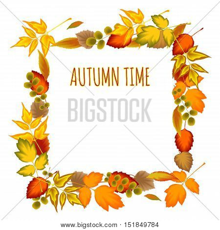 Autumn leaves Decorative frame floral ornament. Isolated. Stock vector illustration for design.