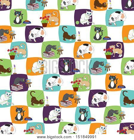 Cats at Play Vector Digital Background Scrapbook Design