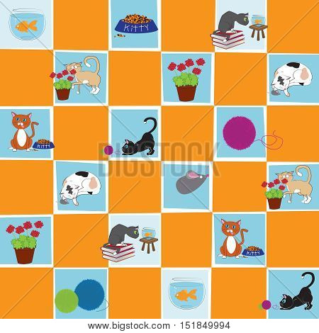 Cats at Play Vector Background and Scrapbook Digital Design