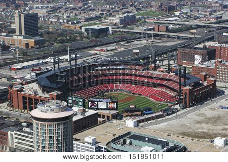 St. Louis - Circa May 2008: Busch Stadium - Home of the Cardinals - from the top of the Gateway Arch I