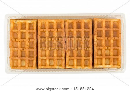 Viennese Waffles In A Plastic Container Isolated On White