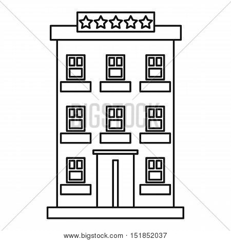 Hotel building five stars icon. Outline illustration of hotel building vector icon for web