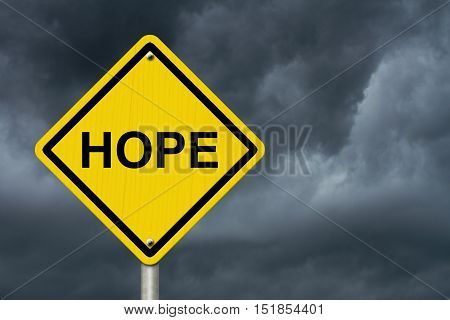 Hope Warning Sign Yellow warning road sign with word Hope with stormy sky background 3D Illustration