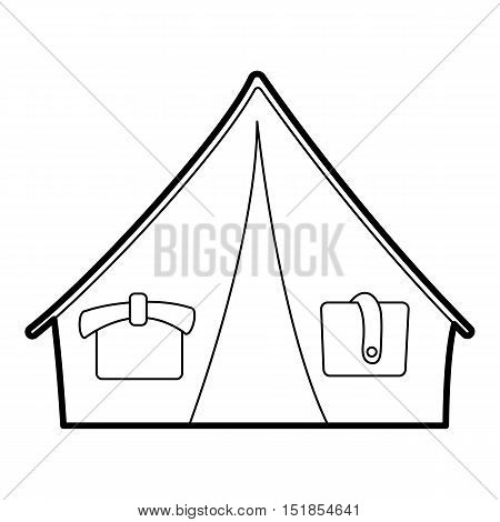 Tent icon. Outline illustration of vector tent icon for web