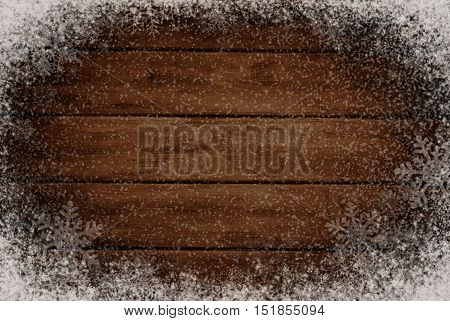 Winter wooden background with snow and snowflakes. Background for design. Art abstact.