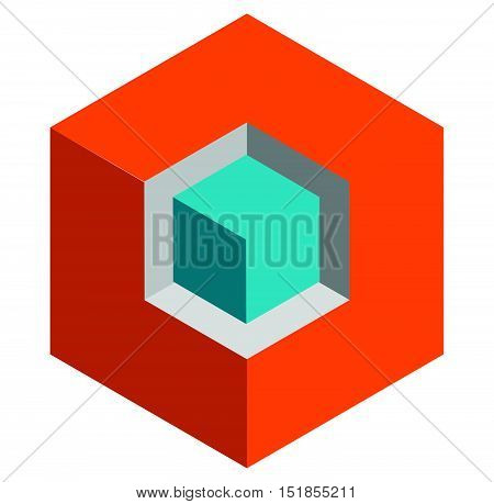 Isometric 3D Duotone Conceptual Cube Icon. Geometric Cube For Structure, Building, Planning Concepts