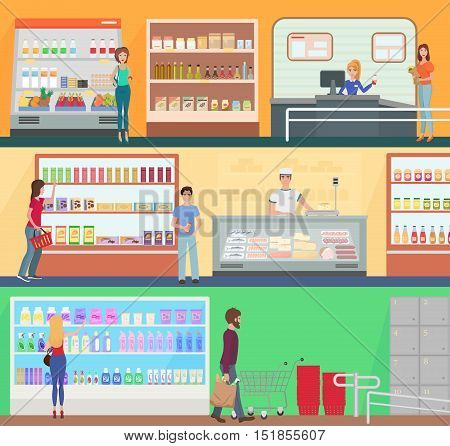 People shopping in a supermarket concept set collection. Customers buing products in food supermarket store market