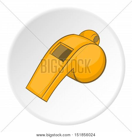 Yellow sport whistle icon. Cartoon illustration of yellow sport whistle vector icon for web
