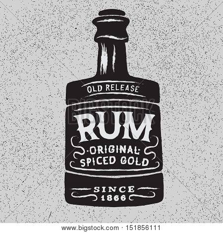 Vintage bottle of rum.Vector typography design of alcoholic drinks