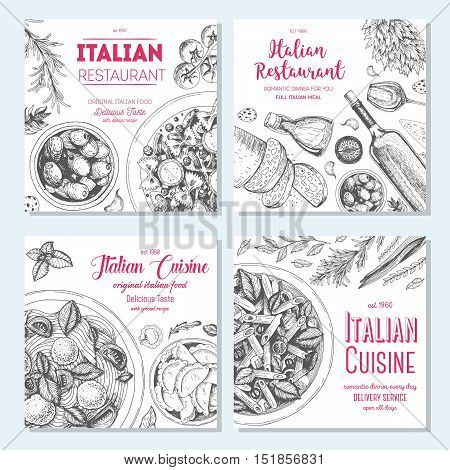 Italian food vintage design template. Square banners set. Vector illustration hand drawn linear art. Italian Cuisine restaurant menu. Hand drawn sketch vector banners.