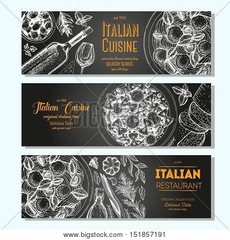 Italian food vintage design template. Horizontal banners set. Vector illustration hand drawn linear art. Italian Cuisine restaurant menu. Hand drawn sketch vector banners