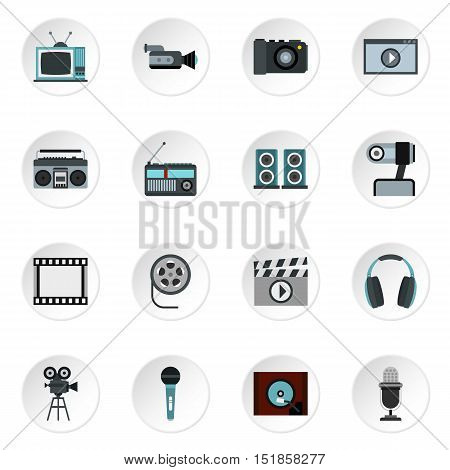Audio and video icons set. Flat illustration of 16 audio and video vector icons for web