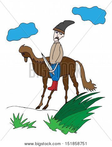 Colorful cossack on a horse silhouettes. Picture for adult coloring book page design child magazine banner template.