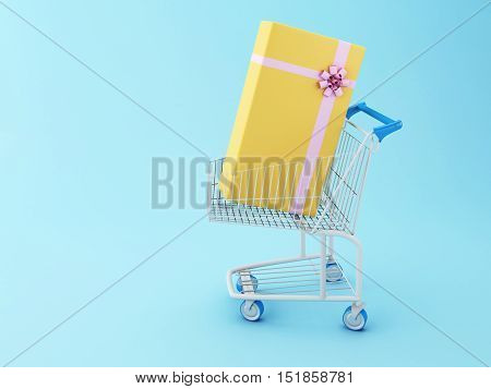 3D Illustration. Shopping cart and a gift box. Comercial concept.