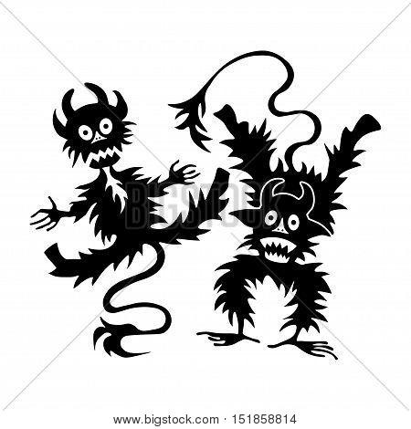 cartoon little devil or Imp - halloween illustration logo template