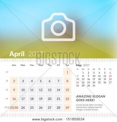 April 2017. Desk Calendar For 2017 Year. Week Starts Sunday. 2 Months On Page. Vector Design Print T