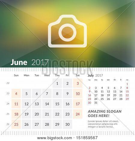 June 2017. Desk Calendar For 2017 Year. Week Starts Sunday. 2 Months On Page. Vector Design Print Te